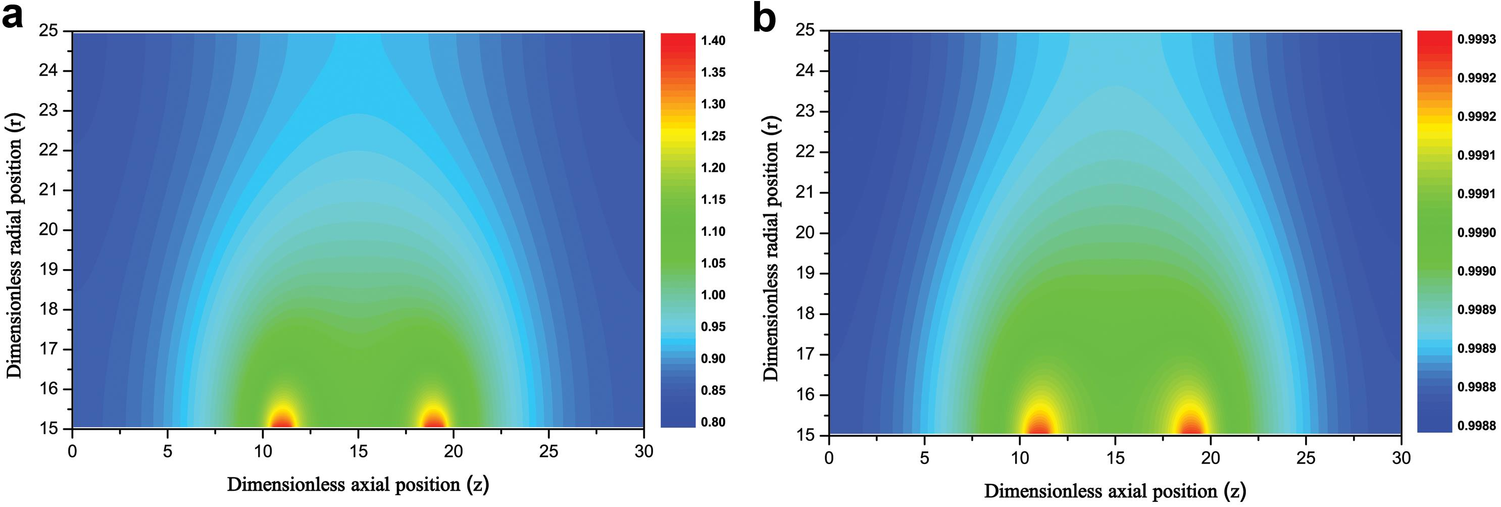 Visual representation of drug concentration at <italic>Pe<sub>T</sub></italic> = 2, <italic>Da</italic> = 40 and <italic>t =</italic> 500.