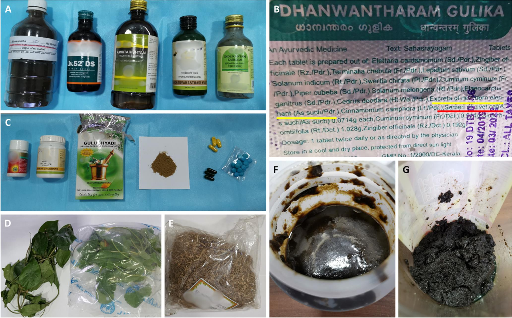 Example of retrieved Ayurvedic and herbal medicines.